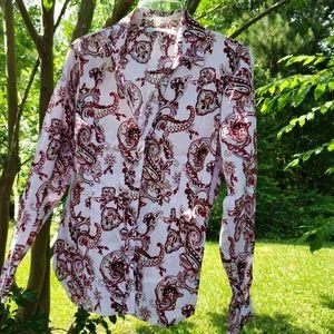 New York & Co paisley dress shirt